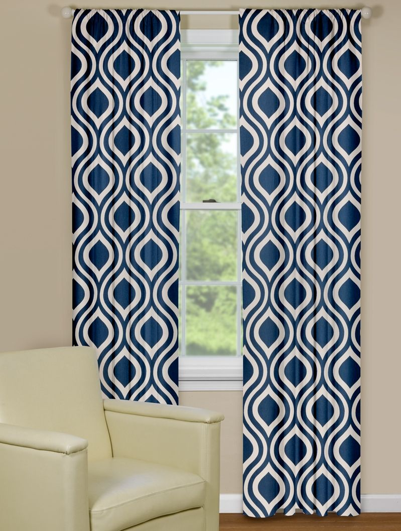 Warm Blue Patterned Curtains Retro Curtains Colorful Curtains Living Room Retro Living Rooms #retro #living #room #curtains