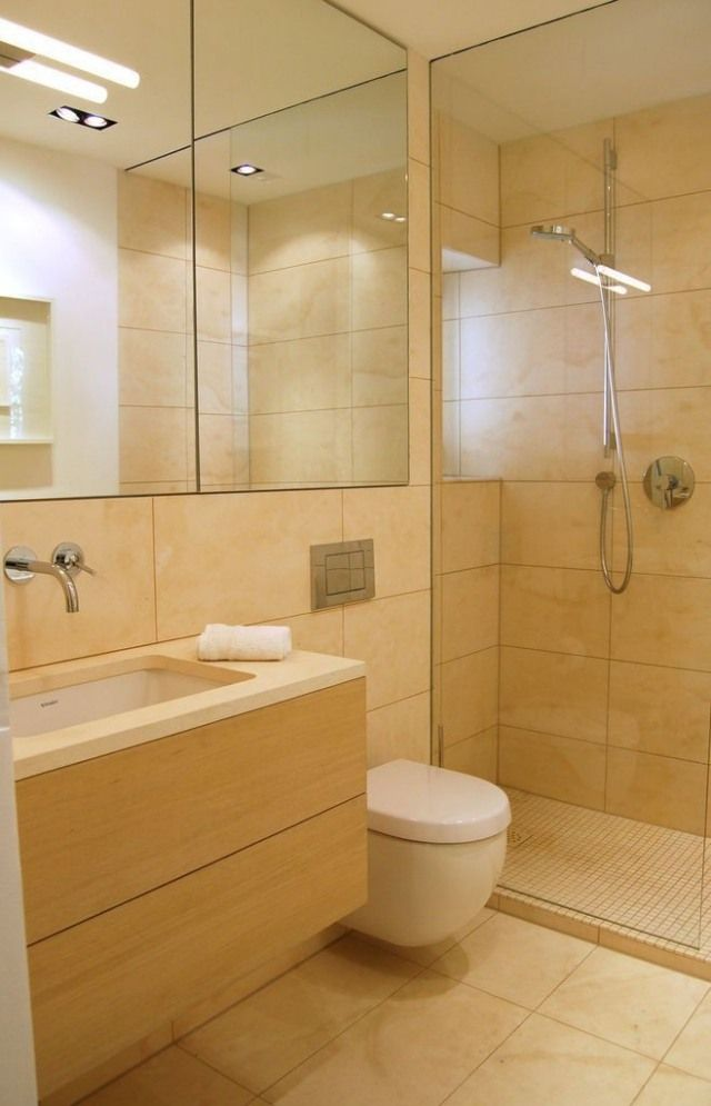 Badezimmer Bilder Dusche Glaswand Sandfarbe Fliesen Holz ... Fliesen Zu Holz Waschtisch