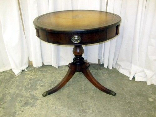 Antique Mahogany Round Side Table W Gold Leaf Embossed Leather Top Duncan  Phyfe