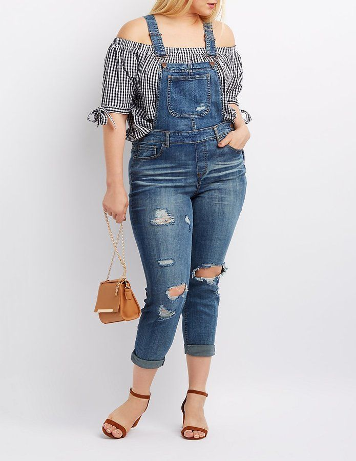 e0f5e9b959c Charlotte Russe Plus Size Dollhouse Destroyed Denim Overalls ...