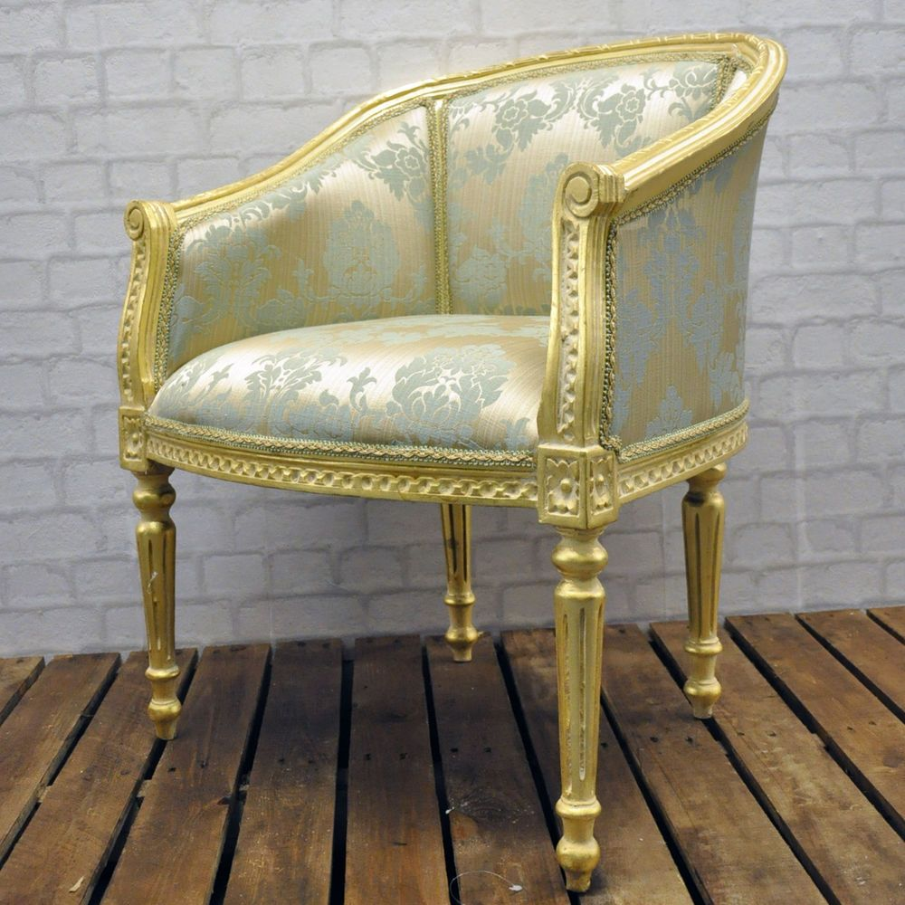 French Vintage Style Antique Gold Frame Duck Egg Damask Louis Arm