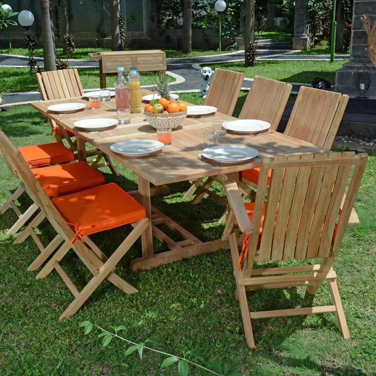 Salon de jardin en teck qualité Ecograde Pampelone, 8/10 ...