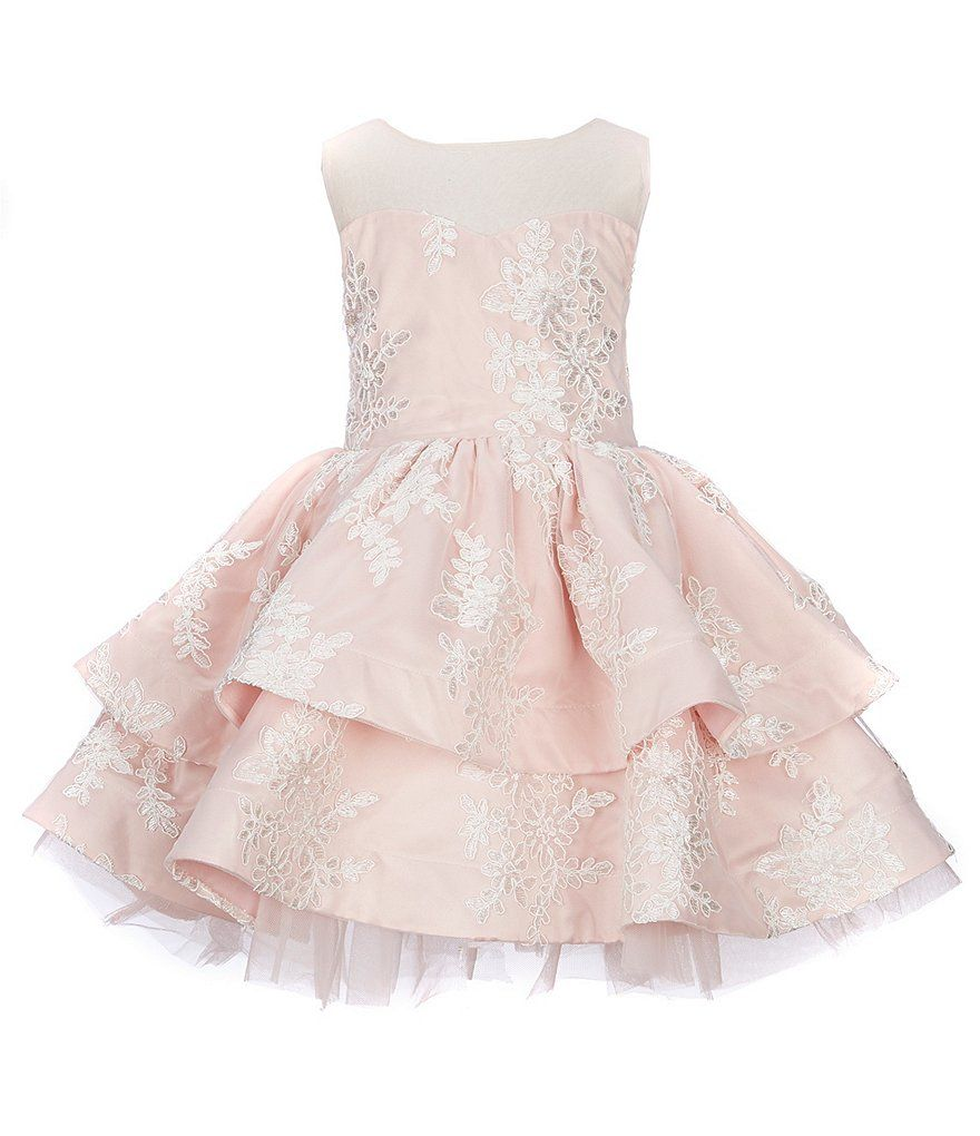 3745746c8dc6a Chantilly Place Little Girls 4-6X Illusion-Neckline Embroidered Fit-And-Flare  Dress