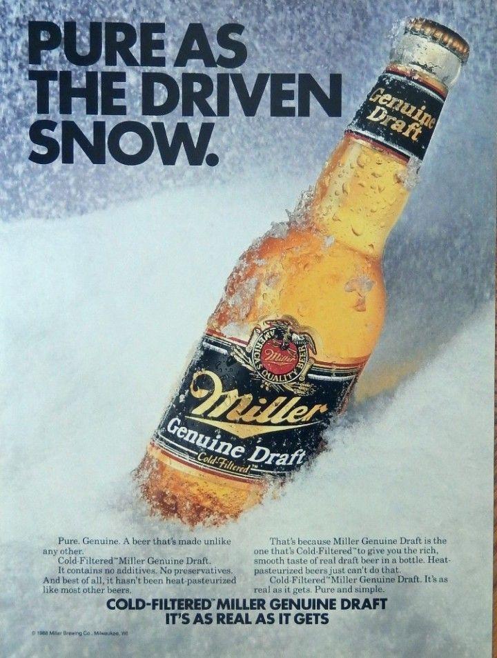 Miller Gennine Draft Beer Print Ad Color Illustration Pure
