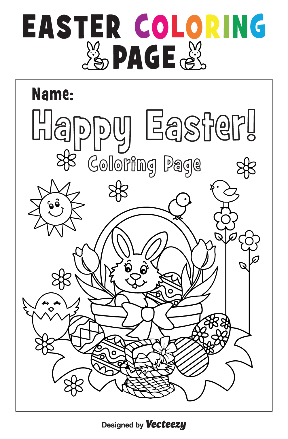 Free easter coloring page printable download