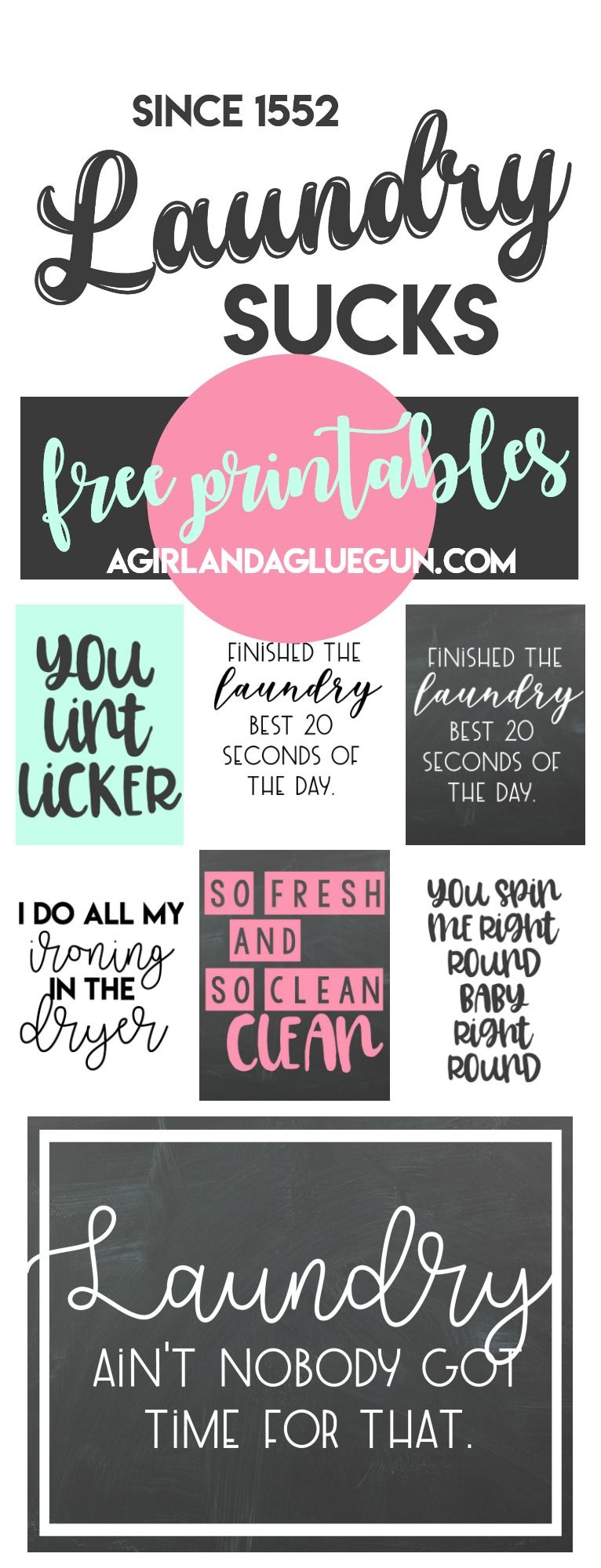 free Laundry room printables! - A girl and a glue gun