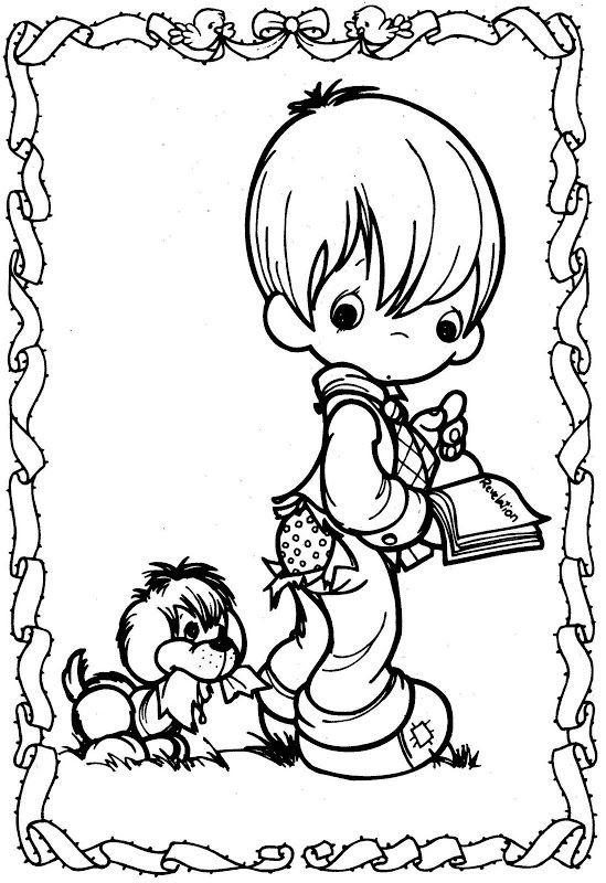 Dog bite a kid - precious moments coloring pages | Coloring Pages ...