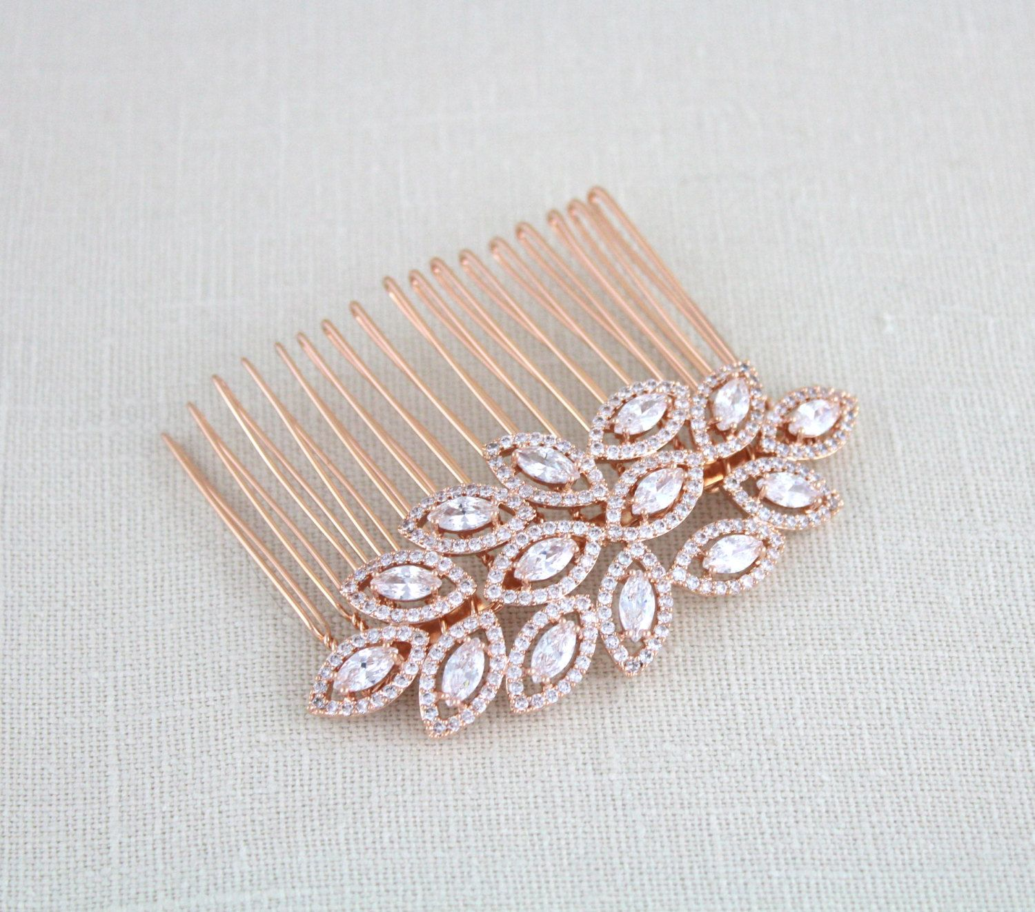 Rose gold hair comb rose gold wedding headpiece crystal leaf hair