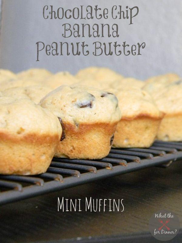 Chocolate Chip Banana Peanut Butter Mini Muffins | MomsTestKitchen.com | #SecretRecipeClub