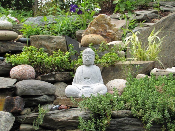 Feng Shui garden design with Buddha statue placed in it ...