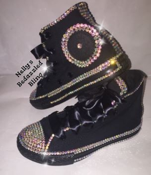 dbbe7de134ade1 Bedazzled bling all star chuck taylors converse. black on black chucks.  Rhinestone and pearl chucks.