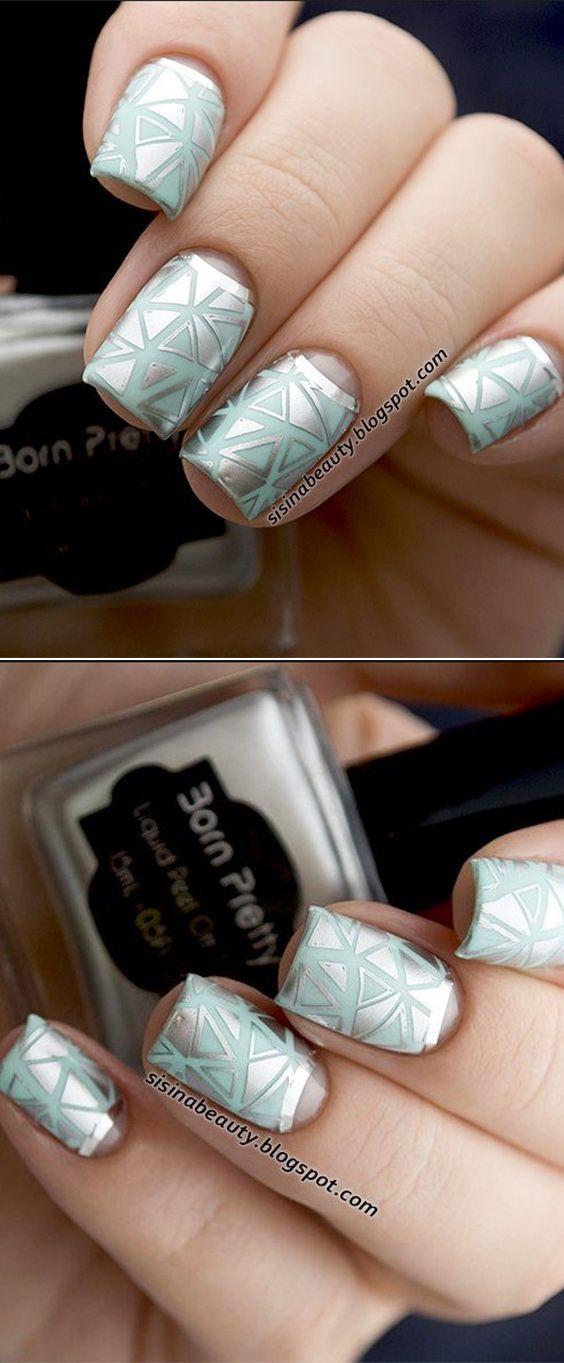 nailstamping design with silver stamping polish, nice nail art ...