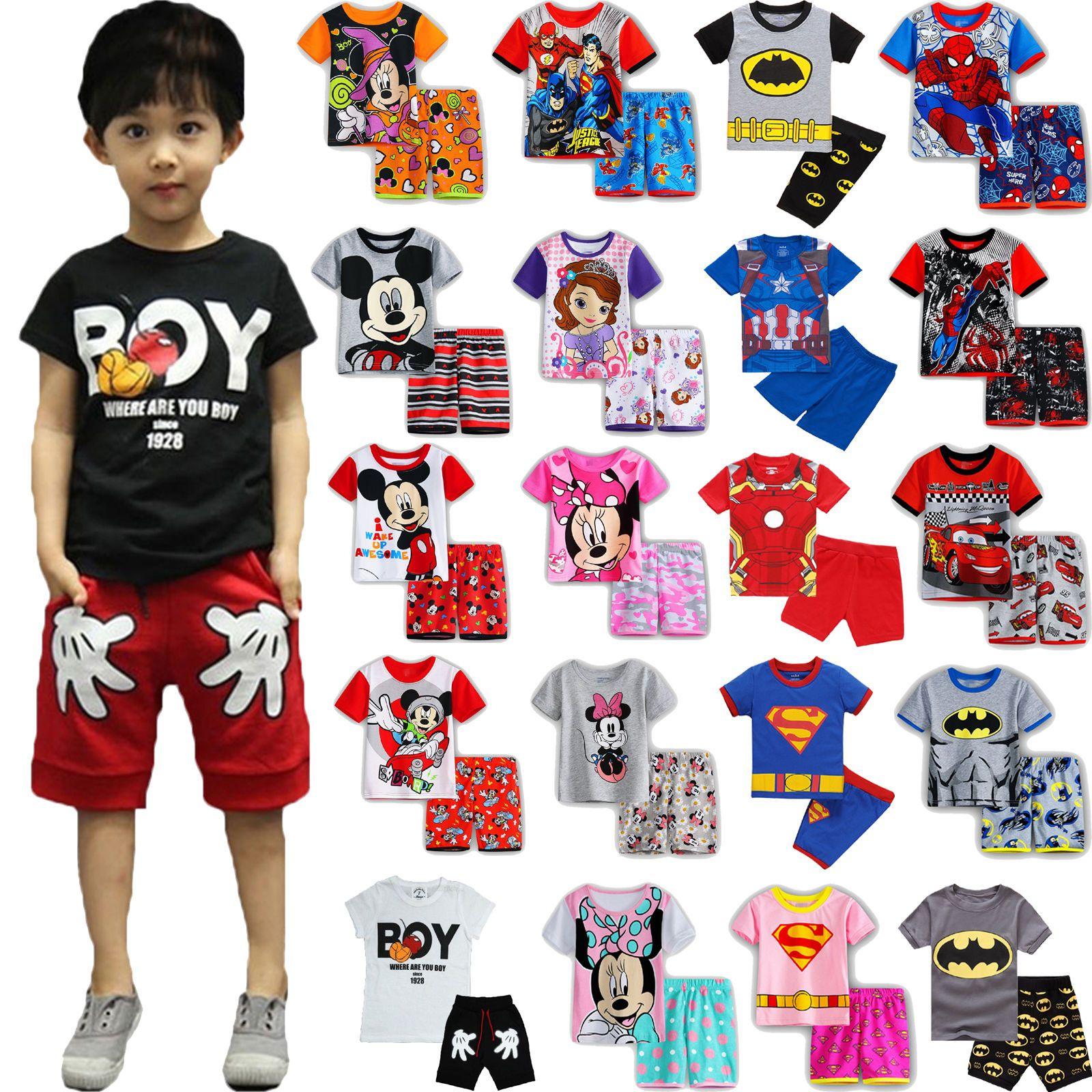 Short Pant Set Kids Boys Cartoon Sleepwear Pj/'s Pyjamas Summer Outfits T-shirt