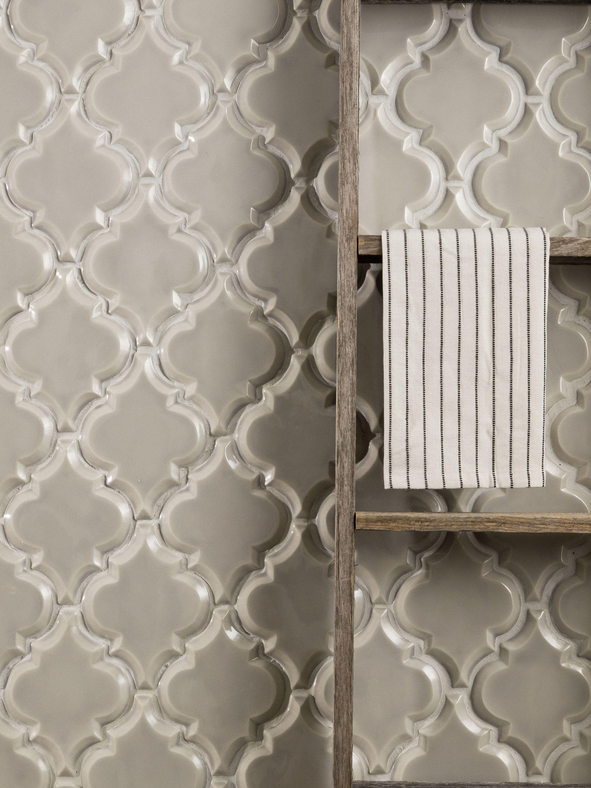 beveled arabesque tile vento grey