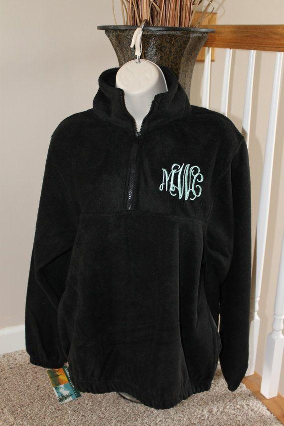 Personalized Soft Monogrammed Fleece Pullover Half-Zip Jacket ...