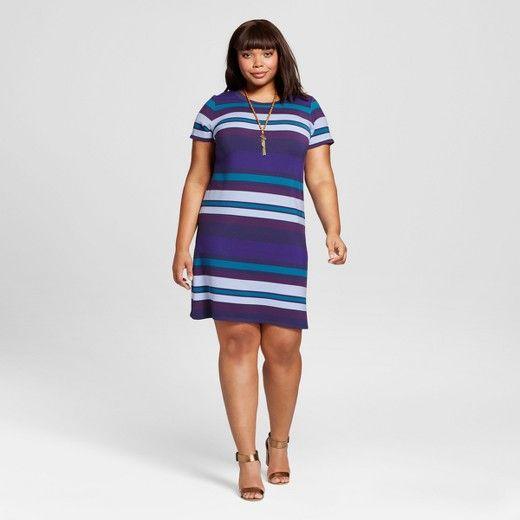 63f79eb4880 Women s Plus Size Striped T-Shirt Dress - Ava   Viv™   Target ...