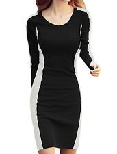 Lady Pullover Round Neck Color Block Slim Fit Sheath Dress