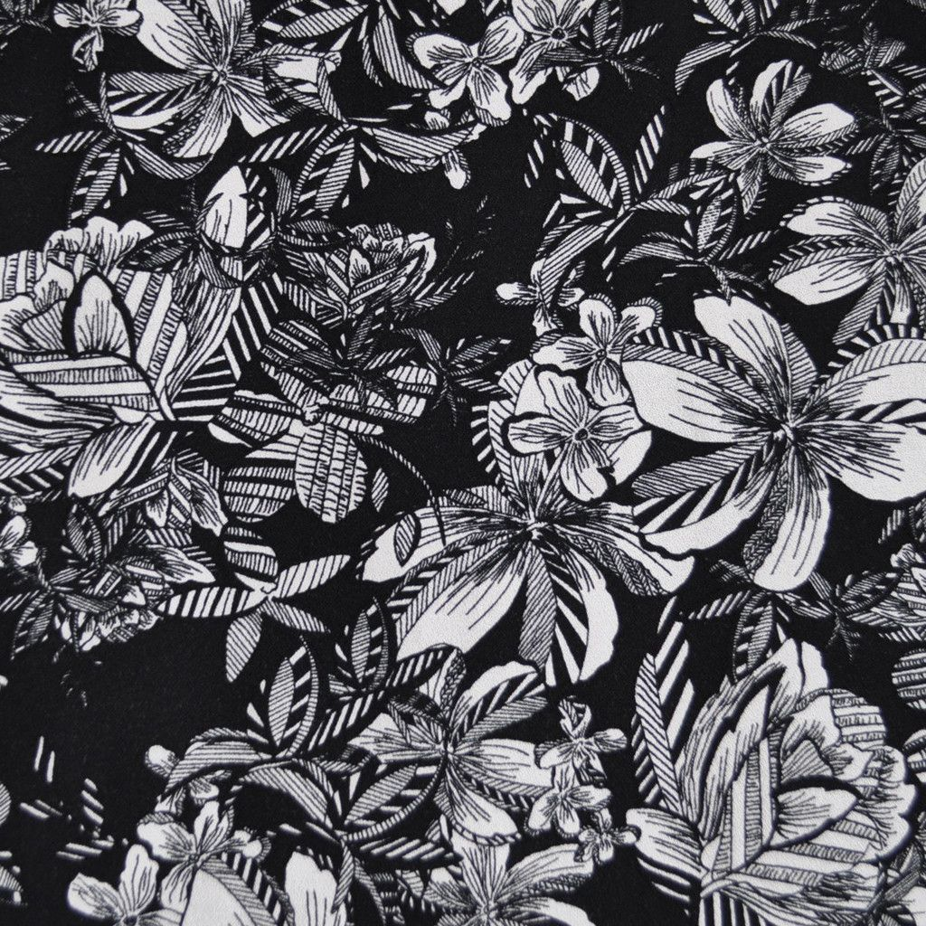 BLACK AND WHITE LITTLE LEAVES DESIGN VISCOSE CHALLIS FABRIC