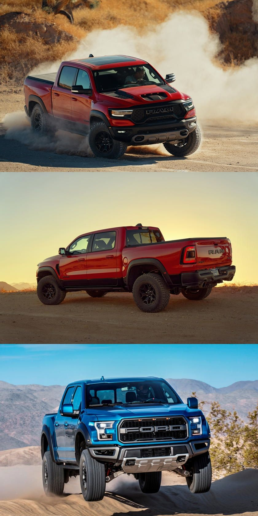 Ford F 150 Raptor Vs Ram 1500 Trx Which Is The Off Road King Is There A New Truck Benchmark Classic Cars Trucks Trx Ford F150