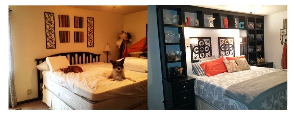 Our master bedroom built-ins - the room Before and After - what a difference!