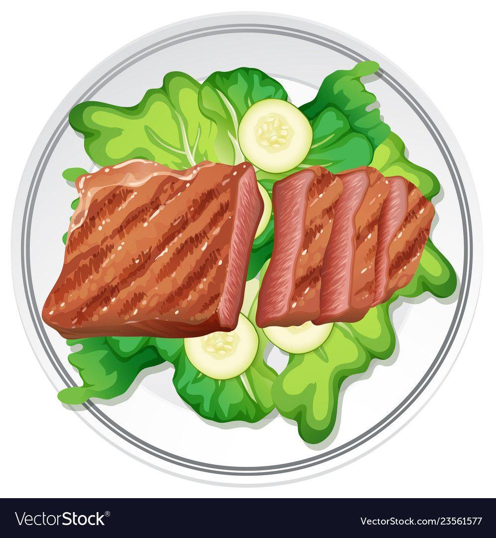 Beef Steak And Salad Vector Image On Vectorstock Beef Steak Barbie Food Food