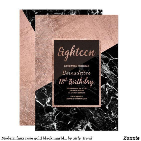 Modern Faux Rose Gold Black Marble 18th Birthday Invitation 21st