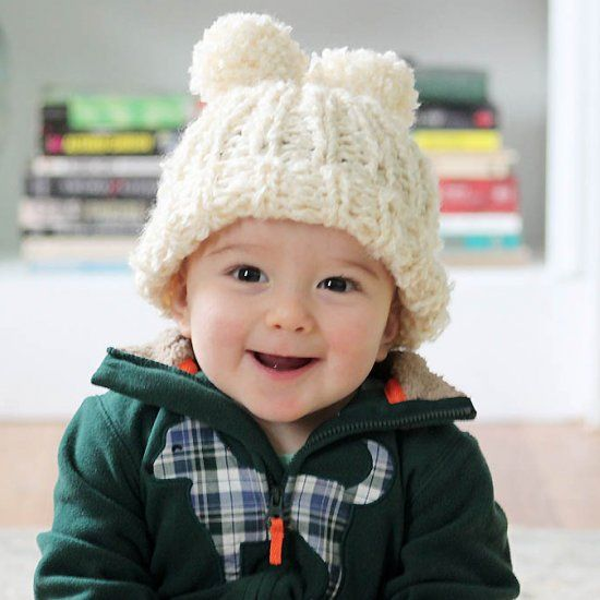 Beginner Knitting Pattern For This Adorable Baby Hat With Double Pom