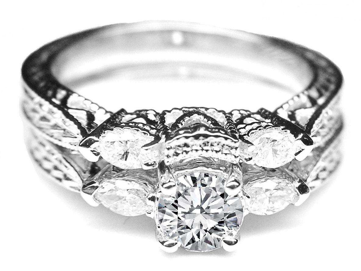 Vintage Engraved Diamond Engagement Ring Marquise Side