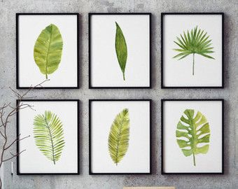 Palm leaf watercolor painting Set of 3 Botanical art от colorZen ...