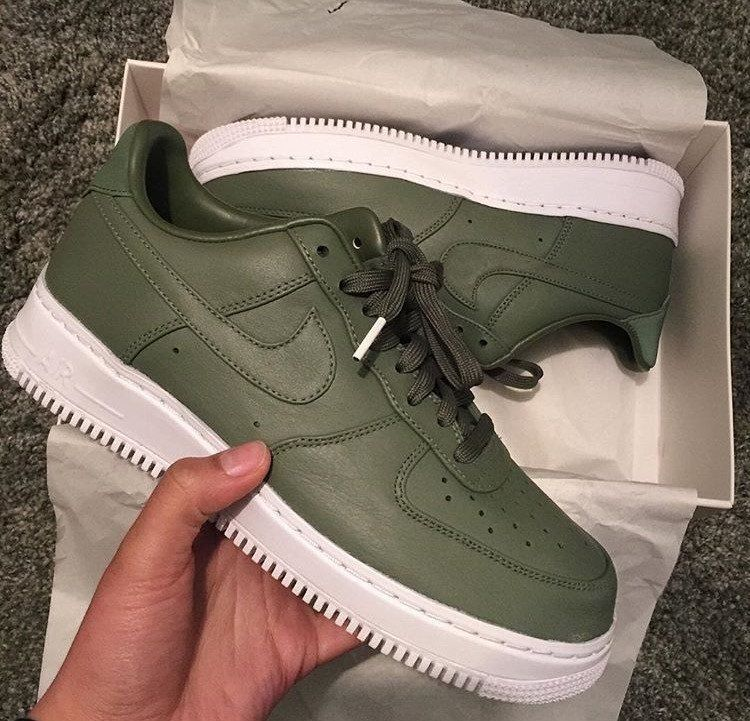nike air force 1 olive green low heels