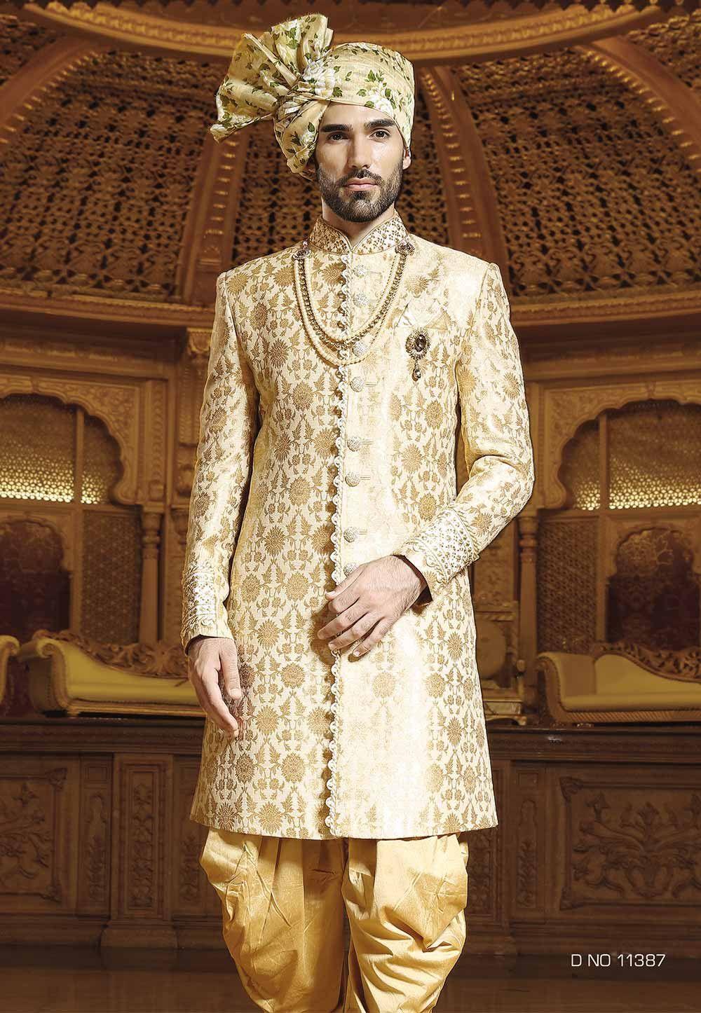 ef1404dc27 Golden Color Indian Designer Sherwani. | Indian wedding sherwani in ...