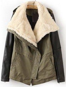 Army Green Faux Fur Lapel Contrast Leather Sleeve Trench Coat www.sheadline.com http://www.sheadline.com/tops.html http://www.sheadline.com/tops/outerwear.html