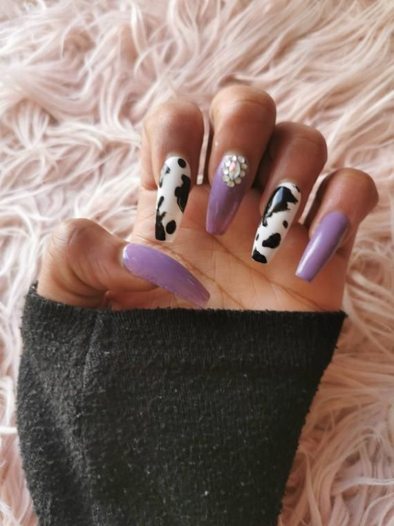 Purple Cow Press On Nails In 2020 Cow Nails Purple Acrylic Nails Press On Nails