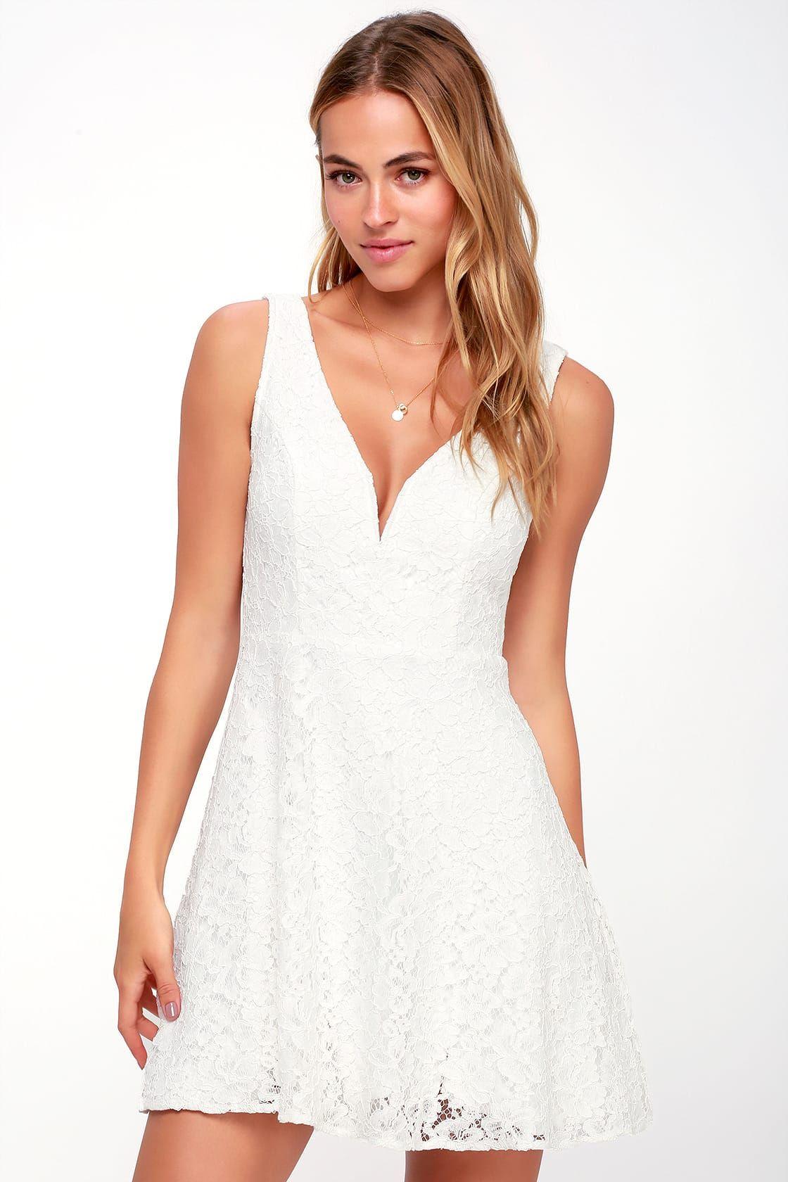 Declaring My Love White Lace Skater Dress White Lace Skater Dress Little White Dresses White Short Dress [ 1680 x 1120 Pixel ]