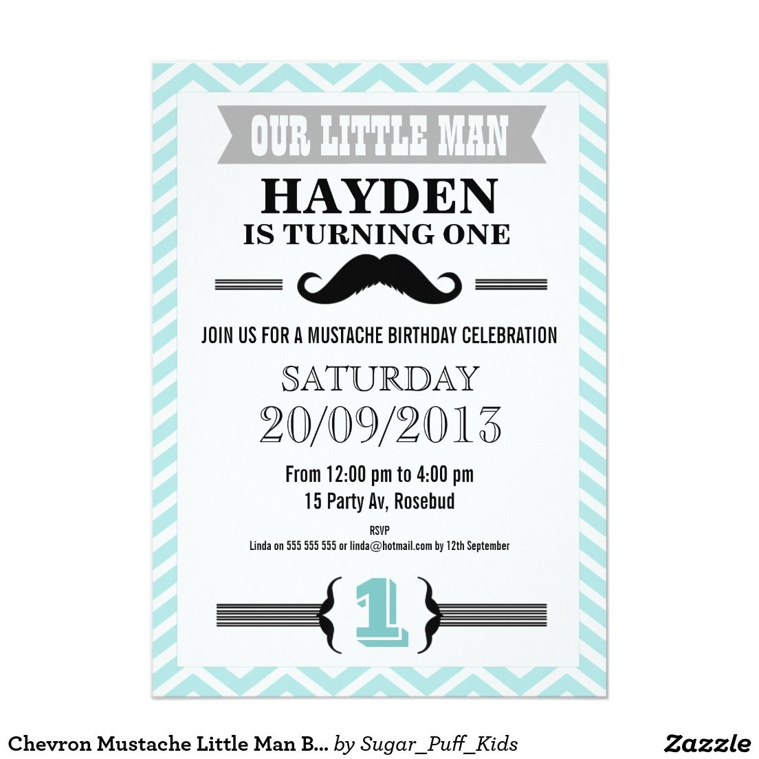 Chevron Mustache Little Man Birthday Invitation | Men birthday and ...