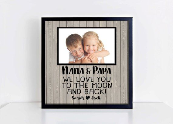 Gifts for Grandparents, Love you to the moon and back, Gift for Nana and Papa, Grandparents photo mat, Grandparents gift, Grandparents quote