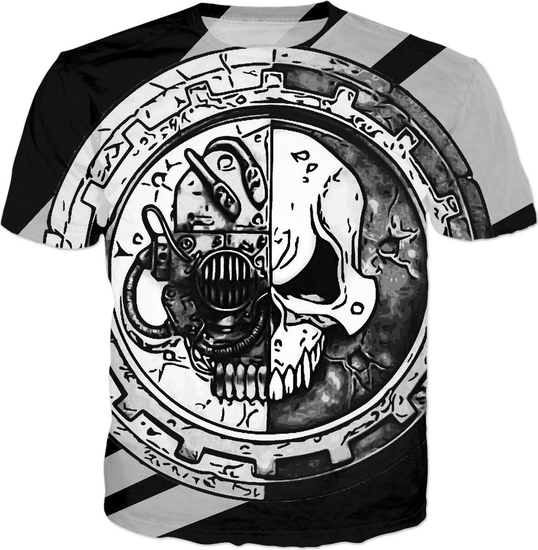 Steampunk skull logo alloverprint tee shirt, black and