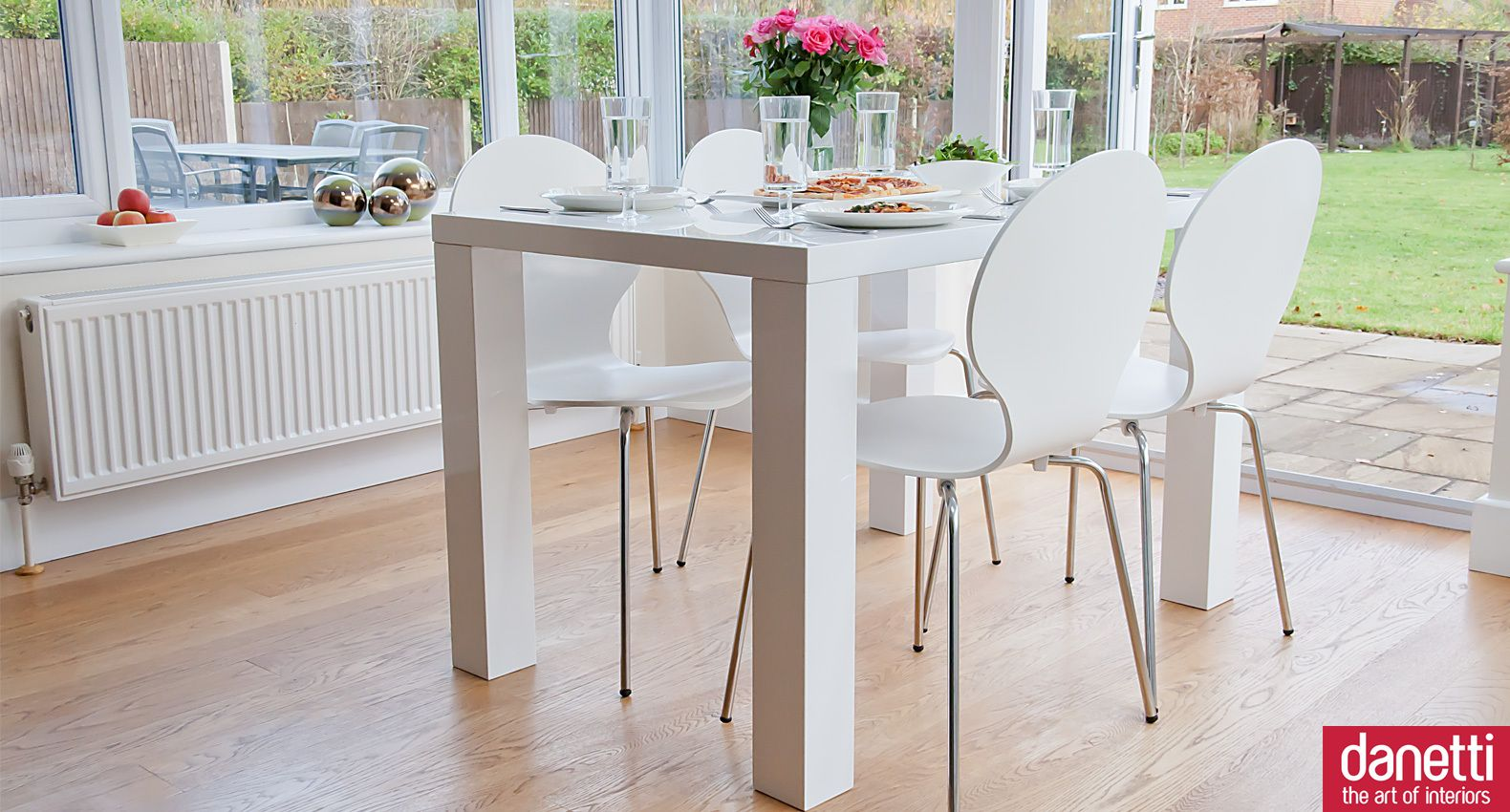 Fern 4 Seater Dining Set 4 Seater Dining Table White Gloss