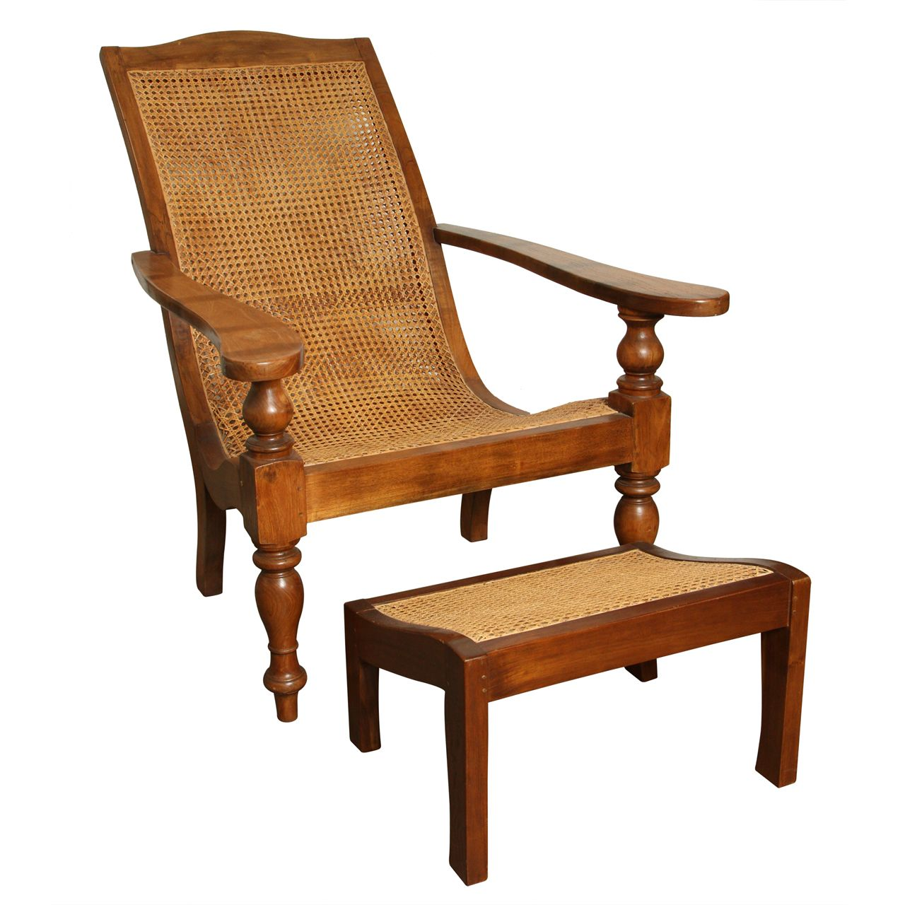 Anglo Indian Plantation Chair And Ottoman Colonial Furniture Sofa