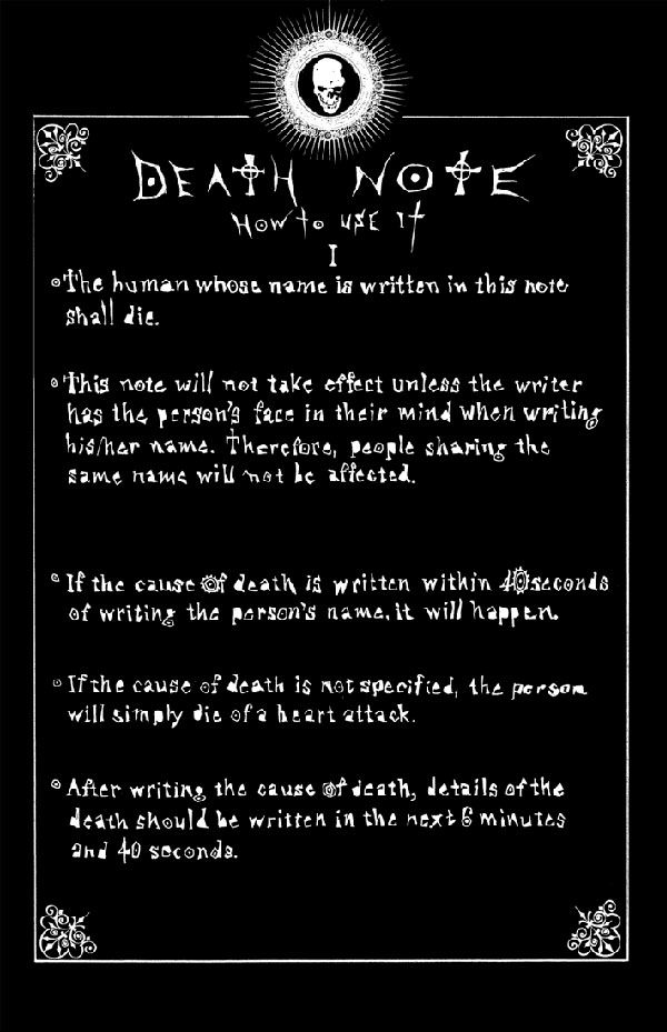 Rules of the Death Note Death note, Death and Note - death note