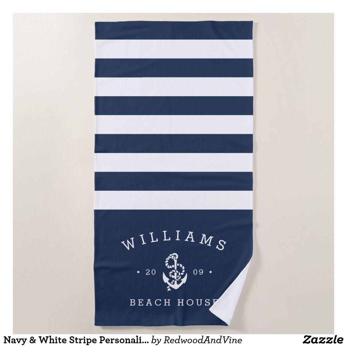 Navy White Stripe Personalized Beach House Beach Towel Zazzle