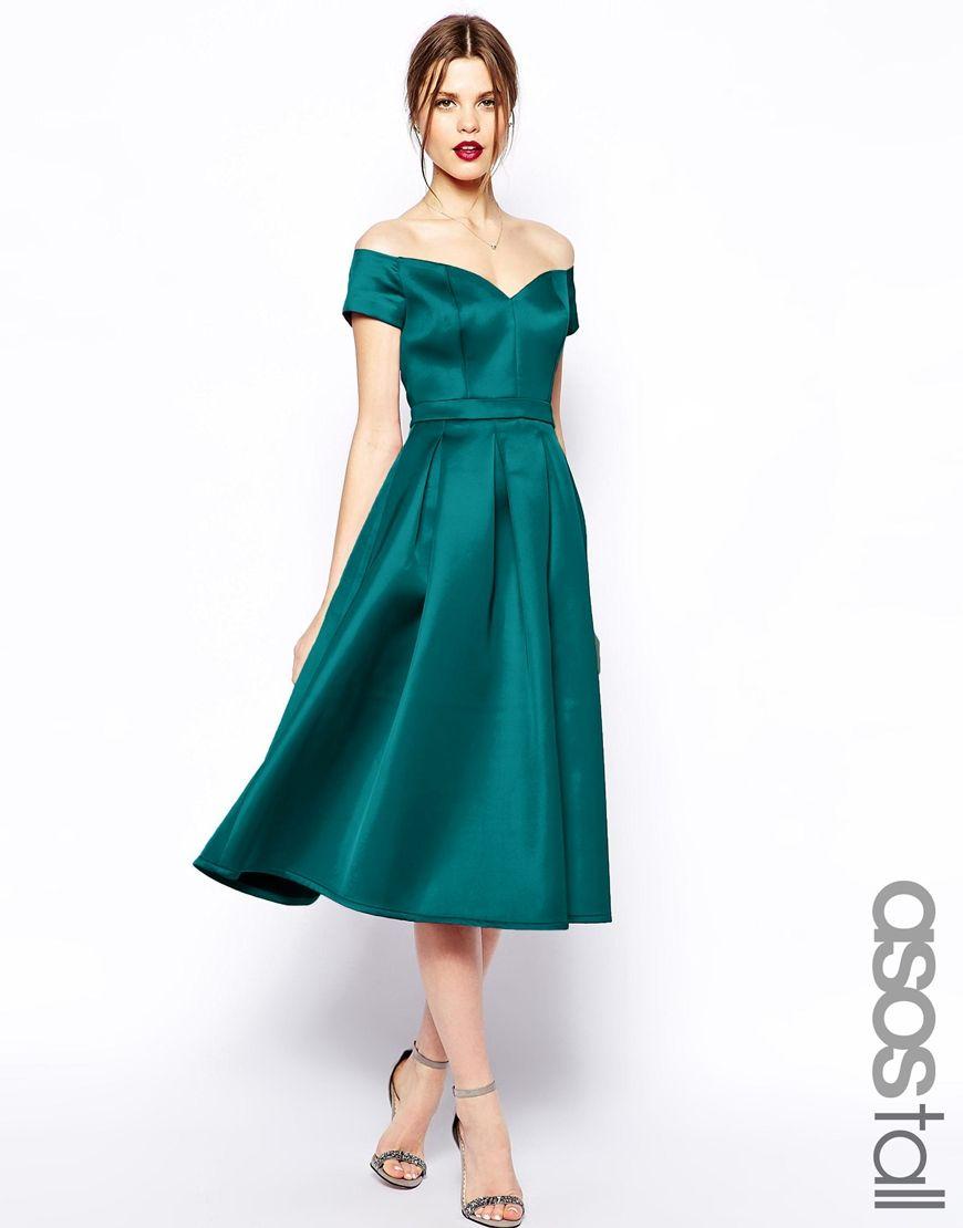 ASOS TALL Satin Bardot Midi Prom $87!   My Wedding Inspirations ...
