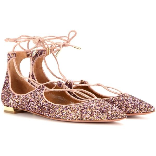 Aquazzura Christy Flat Glitter Ballerinas ($535) ❤ liked on Polyvore  featuring shoes, flats
