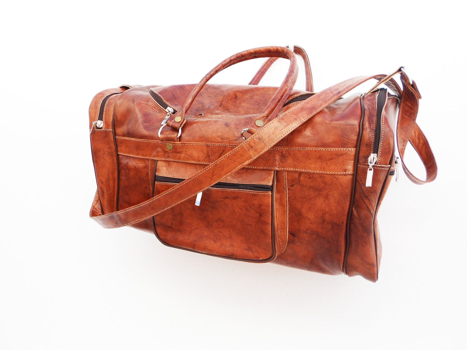 sac main de voyage de sport en cuir marron bagagerie. Black Bedroom Furniture Sets. Home Design Ideas