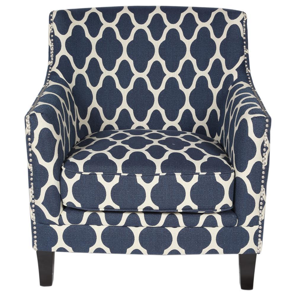 Porter Designs Cassie Blue Moroccan Pattern Accent Chair 01 115c