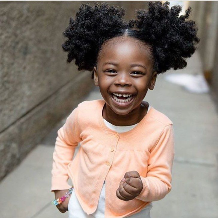 Simple & cute natural hair style for girls via