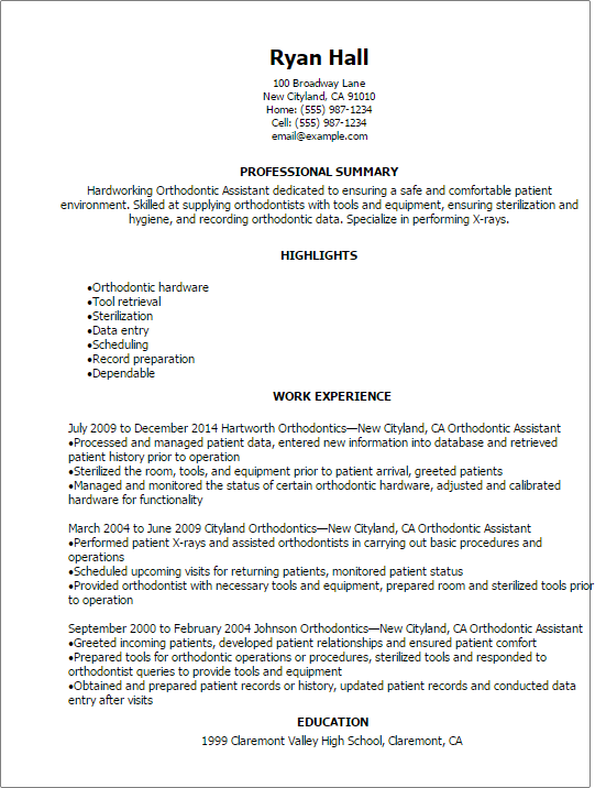 Orthodontic Assistant Resume Sample