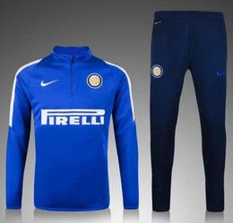 11ee72ee00302 Discount tracksuit milan top thai 2016 Spring Autumn Winter men survetement  Inter Milan football training suit jogging skinny pants tracksuit best  quality