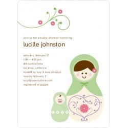 Babushka Nesting Dolls Baby Shower Invitations-Spring Leaf
