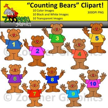 Numbers Clipart Counting Bears Counting Bears Clip Art Black N White Images